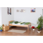 "Single bed ""Easy Premium Line"" K1/2n, solid beech wood, clearly varnished - 90 x 190 cm"