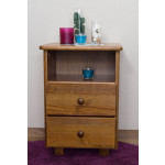 2 Drawer Bedside table 005, solid pine wood, nut-brown finish - H60 x W43 x D33 cm