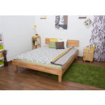 Solid wood bed with low foot end Wooden Nature 01, heartwood beech, oiled  - 160 x 200 cm