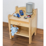 Bedside table solid, natural pine wood Junco 132 - Dimensions 45 x 34 x 29 cm