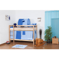 Children's bed / Bunk bed Felix solid, natural beech wood, includes slatted frame - Color: clear coated