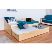 Single bed / Storage bed solid, natural pine wood 93, includes slatted frame - Dimensions: 90 x 200 cm