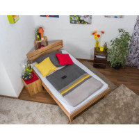 Futon bed / Solid wood bed Wooden Nature 03, heartbeech wood, oiled - size 120 x 200 cm