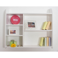 Wall shelf 017 with 5 compartments, solid pine wood, white finish - H90 x W100 x D20 cm