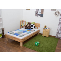 Youth bed Wooden Nature 03, heartbeech wood, oiled, solid - 90 x 200 cm
