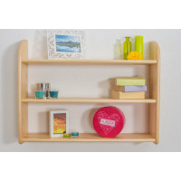 Wall shelf 012, solid pine wood, clear finish - H70 x W90 x D20 cm
