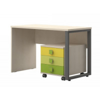 Desk for teenager's room with caster box Matthias 09 included, Color: cream/green/Yellow - Dimensions: 75 x 115 x 60 cm (H x W x D)